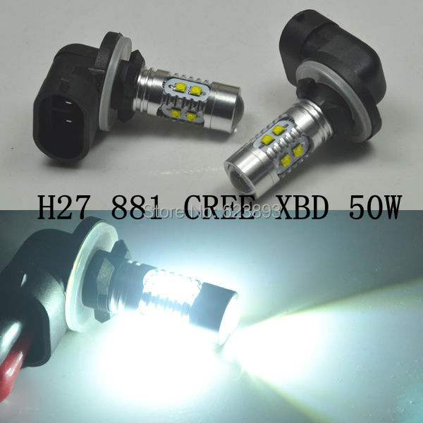 2x kia car xenon white h27 881 led 50w xbd r5 cree high power daytime running lights fog lamp bulb 12v(China (Mainland))