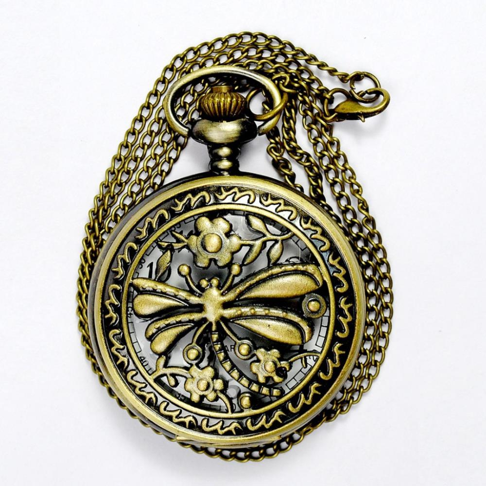 2015 Special Offer Freeshipping European And American Style Pocket Watches Hot Cute Beautiful Dragonfly Hollow King Size Disk(China (Mainland))
