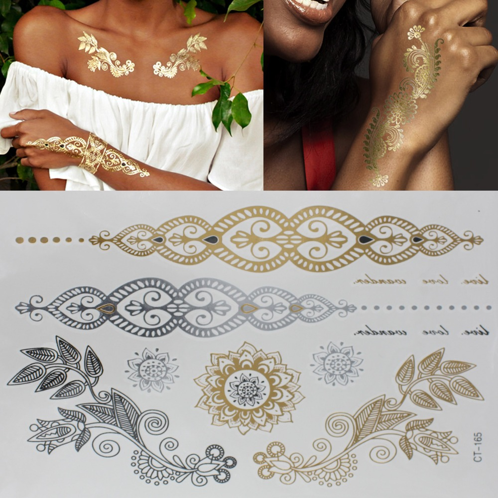 New Arrival sex Products Necklace Bracelets Tattoo Metal Temporary TATTOO Women FLASH Tatoo Metalic Fake GOLD Silver Tattoos(China (Mainland))