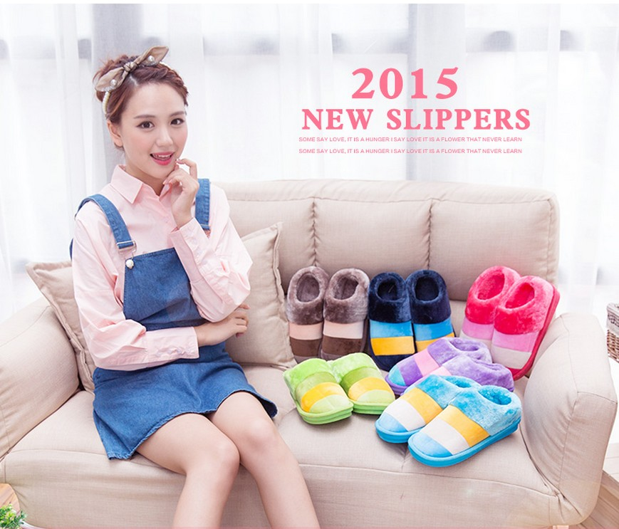 New Arrival Thick Bottom Striped Winter Home Slippers Women Men Indoor\Floor Warm Cotton-padded Shoes Lovers At Home Plush Flats<br><br>Aliexpress