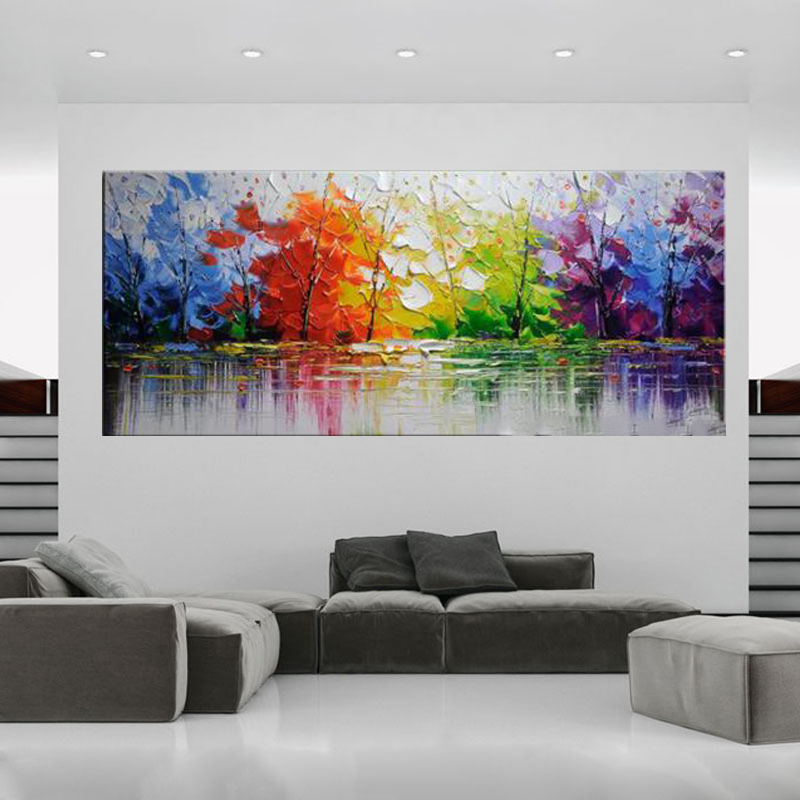 High Quality Abstract Trees Abstract Landscape Oil Painting On Canvas Handmade Beautiful Colors Trees Oil Paintings(China (Mainland))