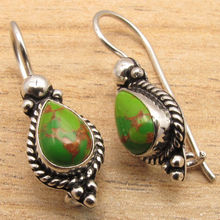 Buy GREEN COPPER Turquois Gems Jewelry Art Earrings ! Silver Plated GEMSET for $7.44 in AliExpress store