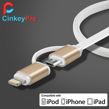 CinkeyPro Universal 2 in 1 Aluminum 1M Mobile Phone Cables Charger Data +Micro USB For iPhone 6 & Samsung S4 S6 Xiaomi Cable