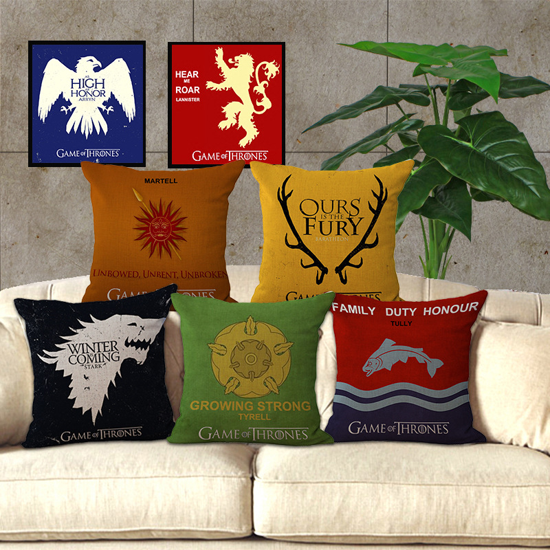 wholesale price 1 piece famous designer game of thrones series seat pillow cover decorative home. Black Bedroom Furniture Sets. Home Design Ideas