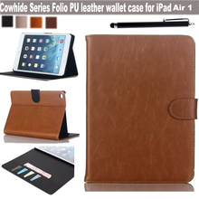 "NEW HOT Leather Cover For Apple iPad Air 1 9.7"" Tablet Wallet Case Cowhide Design Folio Magnetic Stand Skin / ID Holder Stylus(China (Mainland))"