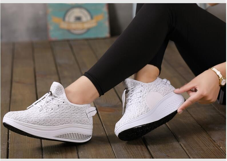 2016 NEW Autumn Women Stretch Fabric Flat Platform Casual Shoes Women's Walking Shoes Woman 4.5cm Heel Shoes chaussure femme