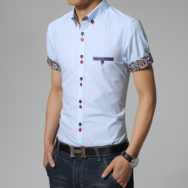 2016 summer new men 39 s short sleeved shirt slim cotton non