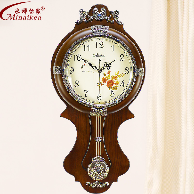 Large Living Room European Style Antique Wood Wall Clock