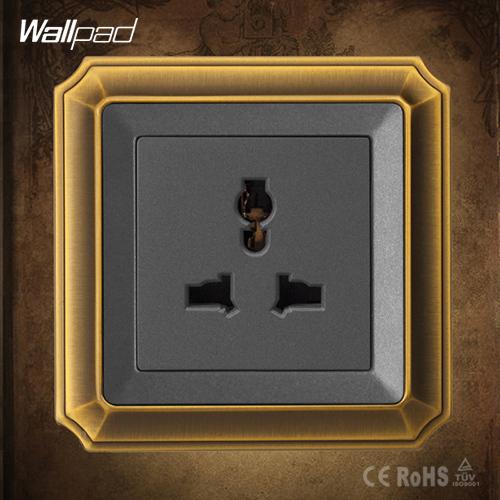Free Shipping, 3-Pins Universal Socket, Wholesaler Wallpad Luxury Copper Panel, UK Lamp Switch, Light Switch/Wall Switch(China (Mainland))