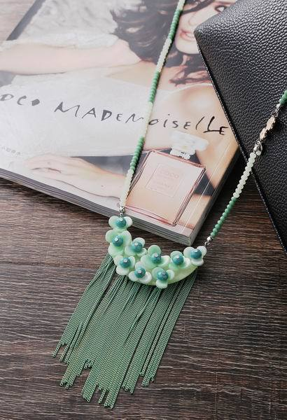 2105 New Design Long Golden Chain And Acrylic Alloy Chain With Tassel Pendant Necklace With Spring And Summer Clothing(China (Mainland))