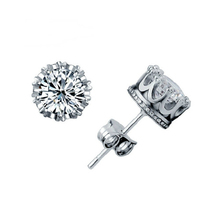 Fashion Charming Classical Lady 925 Sterling Silver Crystal Rhinestone Crown Set Ear Stud Earrings Gift(China (Mainland))