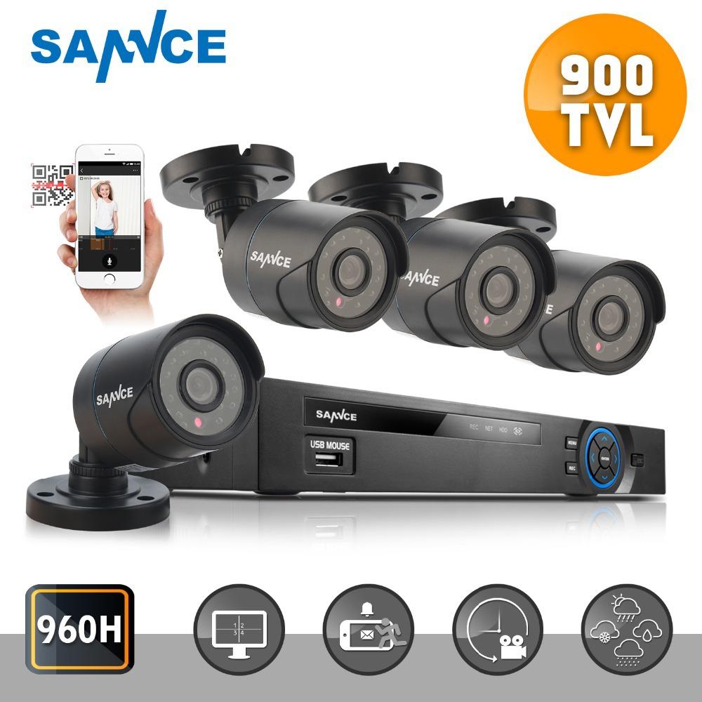 SANNCE 4CH 960H HDMI Security DVR with 4PCS 900TVL IR CUT Night Vision CCTV Cameras System<br><br>Aliexpress