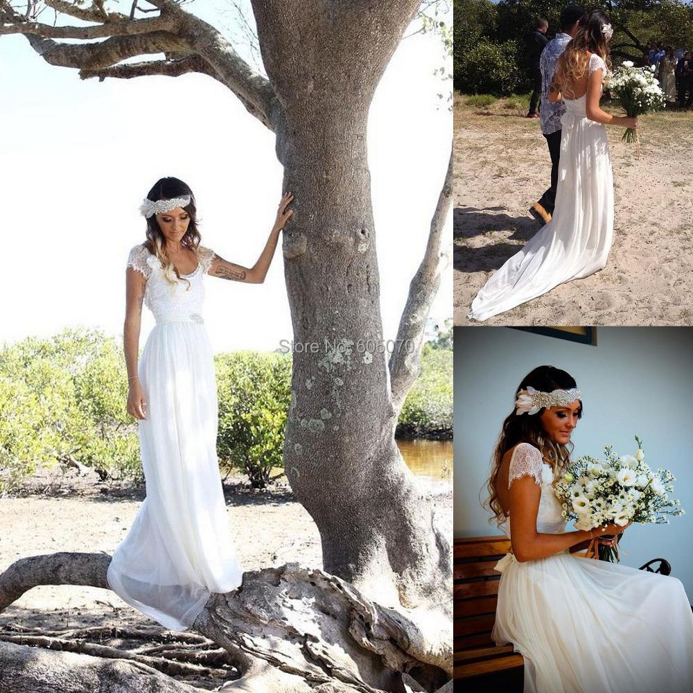 2015 New Arrival Simple White Chiffon Wedding Dresses Beach Wedding Dress Open Back(China (Mainland))