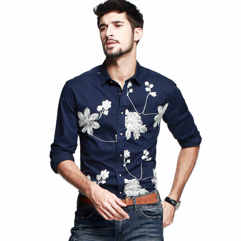 2014 new mens fashion embroidered shirts men personalized