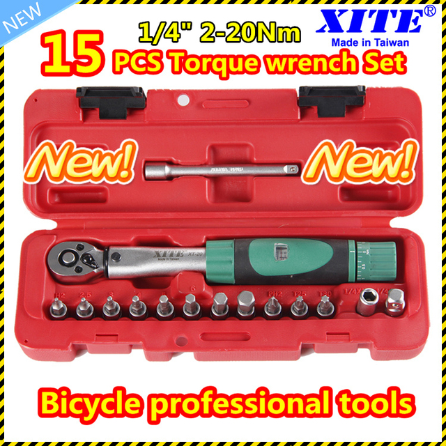 "1/4""DR 2-20Nm 15 PCS torque wrench Bicycle bike tools kit set tool bike repair spanner SET"