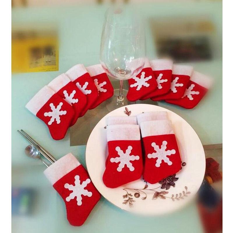 12 pcs/lot Mini Christmas Stocking Dinnerware tableware Cover Xmas tree Decaration Christmas Ornament Christmas gift kids gift &(China (Mainland))