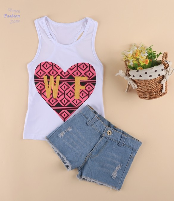 Girls Clothing Sets Kids Girl's Wear Two Pieces Heart Printed Baby Clothes White Vest and Denim Jeans Shorts conjunto menina LYP(China (Mainland))
