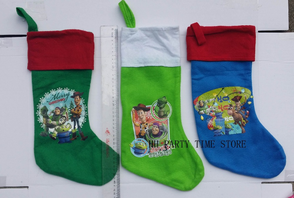 Free Shipping.41cm,three colors toy story,buzz children Cartoon movie Christmas stockings sock candy gift bag(China (Mainland))