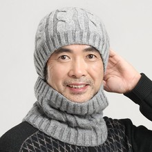 Quinquagenarian hat male hat knitted hat knitted cold-proof thermal muffler scarf cap new brand father year gift wool cap scarf(China (Mainland))