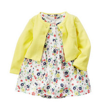 2016 New Just Arrival Carters Baby Girls 2-Piece Dress & Romper Set, Carters Baby Clothing Set, Freeshipping(China (Mainland))