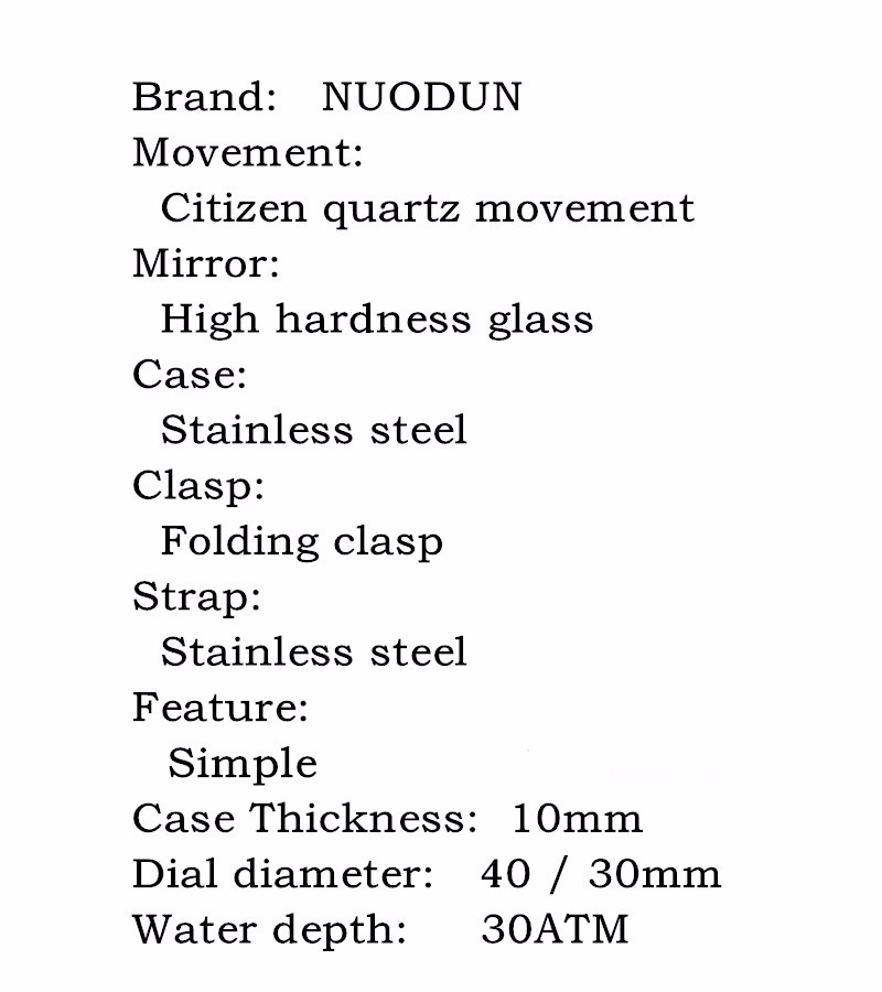 Nuodun Mens Gold Watches High Fashion Mens Watch Stainless Steel Quartz Watches W Water Resistant Gents Watches Reloj Hombre