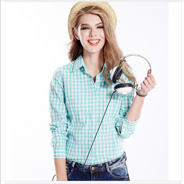 New Fashion Womenu0026#39;s Long Sleeve Plaid Blouses Women 100% Cotton polo Shirts Blouses Female ...