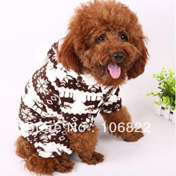 Dogs Pet Pet shopPet Doggie Soft Warm Puppy Snow Cute Clothes Snowflake Deer Hoodie Jumpsuit