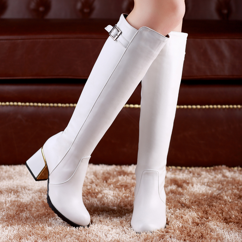 thick heel platform leather knee high womens boots