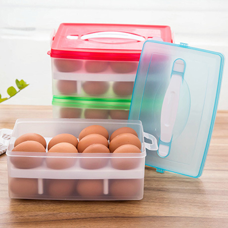 24 Grid Egg Food Container Organizer Convenient Storage Boxes Double Layer Durable Multifunctional Crisper Kitchen Storage Box(China (Mainland))