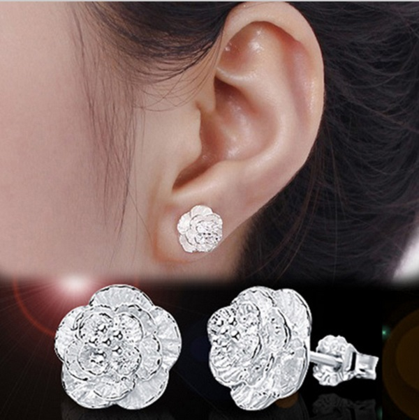 1 Pair Romantic Flower Pattern Ear Stud Fine Jewelry Silver Plated Alloy Earrings Fashion New Gift 2 Styles(China (Mainland))