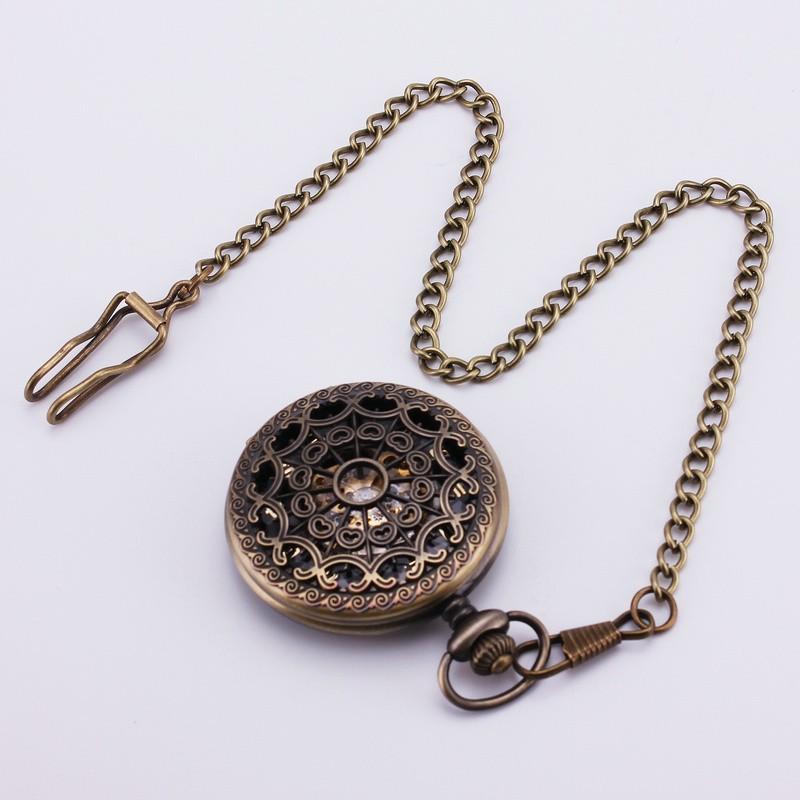 Стимпанк барокко старинные ретро античные готический бронза выдолбите механические карманные часы свитер цепи тактовой ожерелье TD107