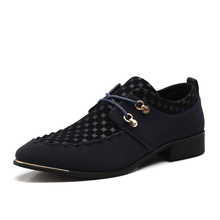 Spring men oxfords wedding shoes canvas leather shoes Casual pointed toe flats lace up men shoes 6898