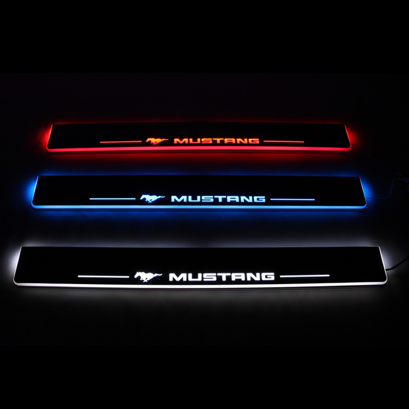 Led Door Sill For Ford Mustang 2015 2016 Led Moving Light Door Scuff Plate Welcome Pedal