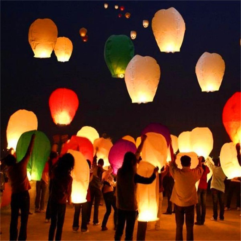 10Pieces multicolor Paper Chinese wishing lantern Many colors hot air balloon Fire Sky lantern for Birthday Wedding Party color(China (Mainland))