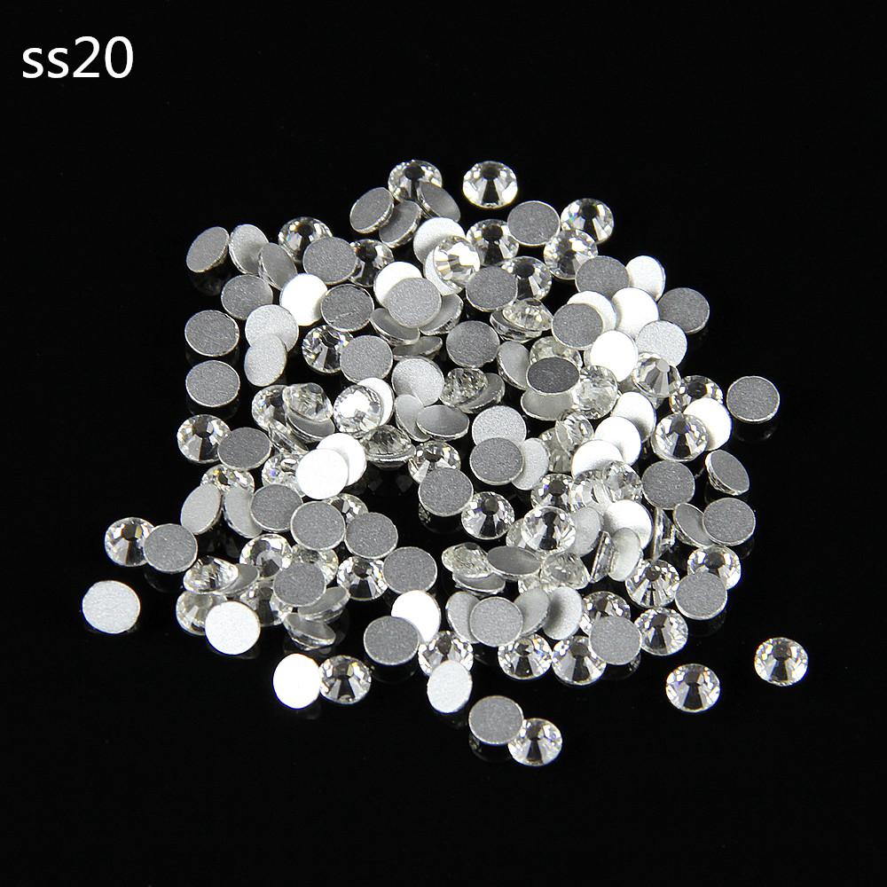 Free Shipping Glitter Rhinestone Crystal Clear Round Shape Crystal Rhinestones Flat Back Non Hotfix Rhinestone SS20(4.6-4.8mm)(China (Mainland))