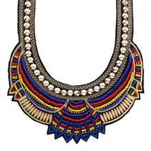 New Choker Necklace Fashion Ethnic Collares Vintage Silver Plated Beads Pendant Statement Necklace For Women JewelryN34051(China (Mainland))