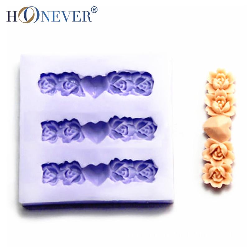 Rose Silicone Mold Love Heart Chocolate Flower Cake Mold DIY Manual Baking Fondant Mold(China (Mainland))