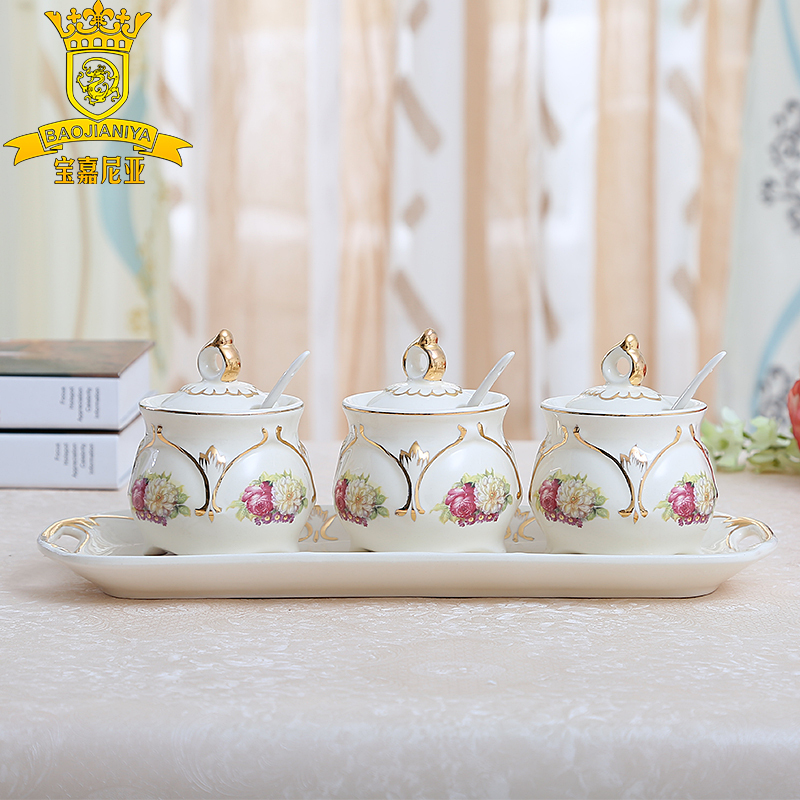 European ceramic spice jar TV cabinet practical and creative home decorations wedding gifts wedding gifts upscale friend(China (Mainland))