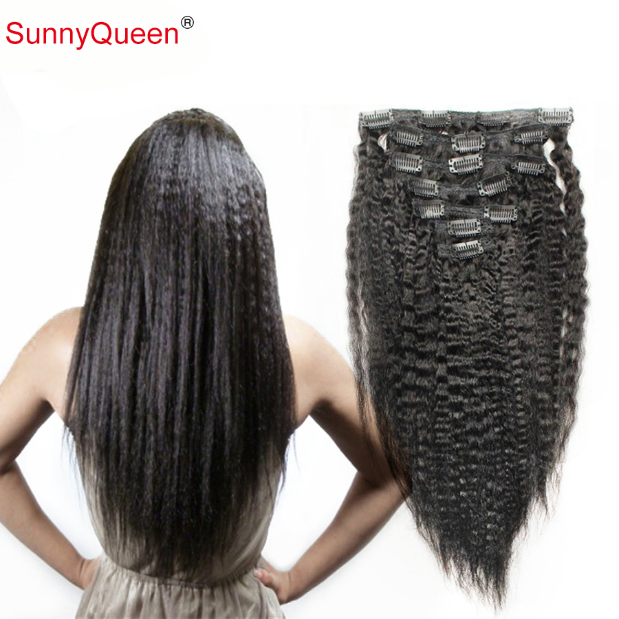 Фотография 7A Clip In Human Hair Extensions Malaysian Virgin Hair Kinky Straight 120g Natural Hair Clip Extension Sunny Queen Hair Products