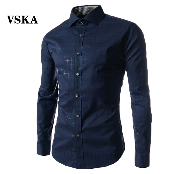Men s Shirts 2015 New Fashion Designer Casual Long Sleeved Plaid Shirt Male Camisas Hombre Slim