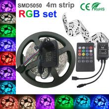 5050 RGB LED Strip Non-Waterproof 4M strip light smd5050 Led Strip Light Fita Led String + music IR Remote + DC 12V 2A Power Kit(China (Mainland))