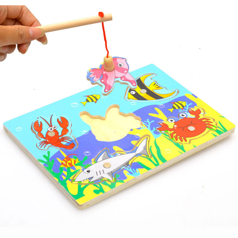 1PCS Baby Wooden Magnetic Fishing Game & Jigsaw Puzzle Board 3D Jigsaw Puzzle Children Kids Education Toy Gift