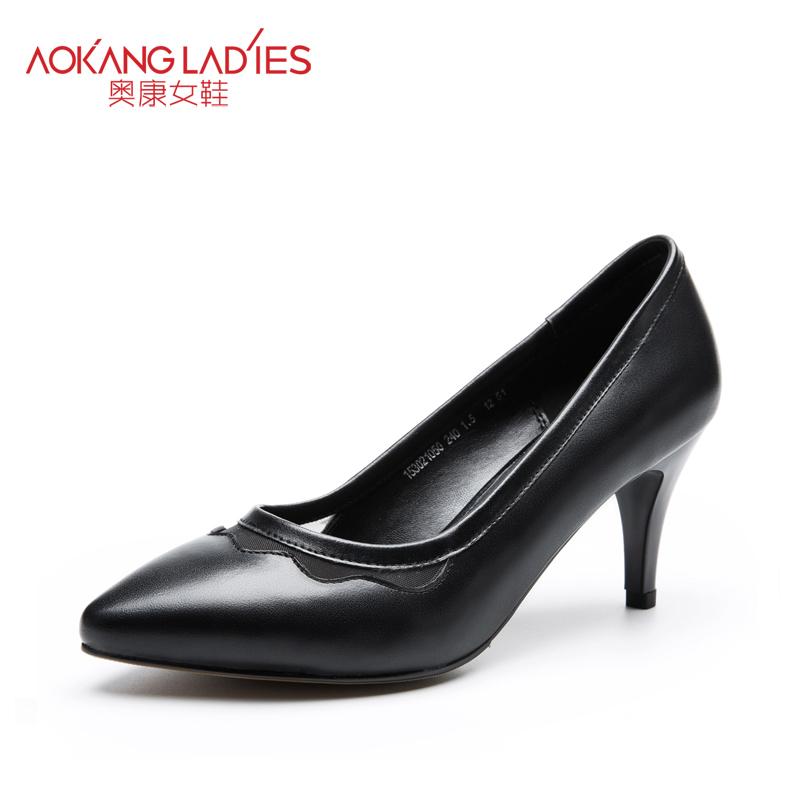 Здесь можно купить  AOKANG 2015New Arrival High Heels Ladies Shoes Full-grain Leather Shoes  Обувь