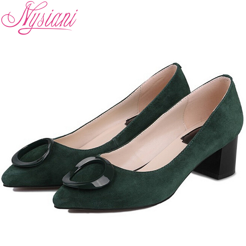 Nysiani Pointed Toe Square Heel Solid High Heels Shoes Fashion Sexy Women Pumps 2016 New Style Genuine Leather Zapatos Mujer(China (Mainland))