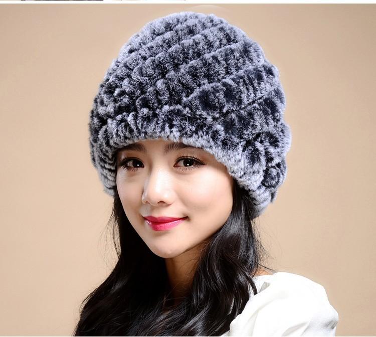Вязание кролика hat шапки зимняя шапка для женщин новинка 2015 натурального меха кролика шляпа полосой меховые шапки