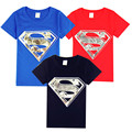 2016 new street fashion for men and women T shirt boys clothes blue Superman logo main