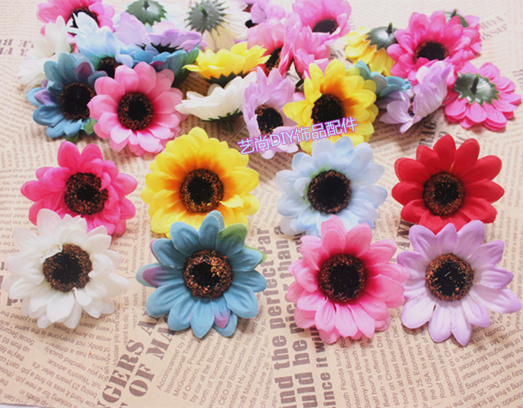 7CM Large Fabric Gerbera Daisy,Artificial Silk Fake Sunflowers Heads,Wedding Party Decorations,Wreath For Hair,Wrist Corsage!(China (Mainland))
