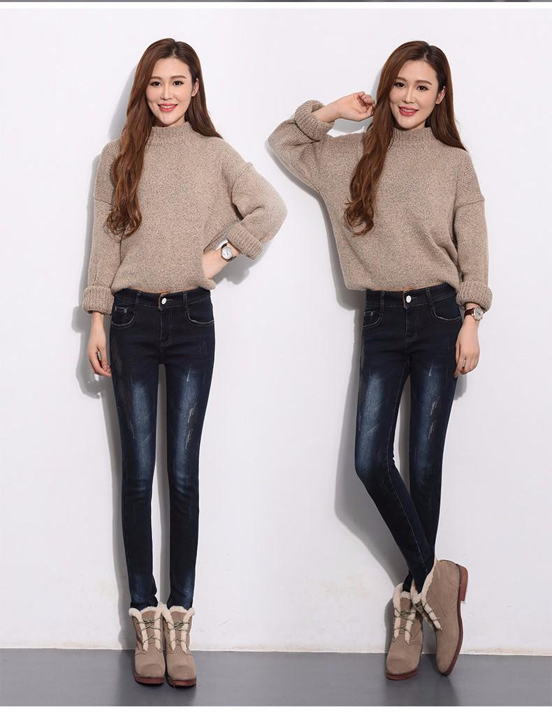 Скидки на Евро 2016 шерстяные утолщаются теплые женские джинсы осень зима плюс размер эластичный хлопок вышивка царапины ковбой дамы брюки D201