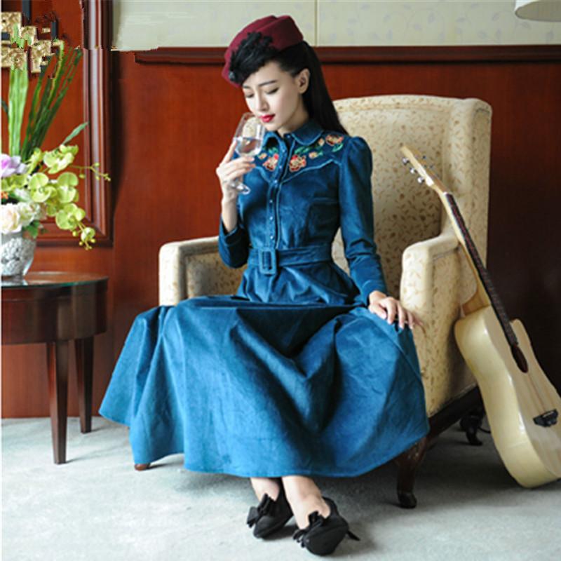 Women's Vintage Embroidery Long Dress 2016 Autumn Winter Long Sleeve Peter pan Collar Slim Retro Corduroy Dress With Belt G1723(China (Mainland))