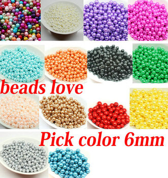 Pick 14 color 6mm ABS Imitation Pearl beads Round Beads 500pcs/lot Free shipping (w02763)